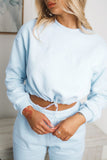 AMARA LONG SLEEVE CROPPED JUMPER - Blue