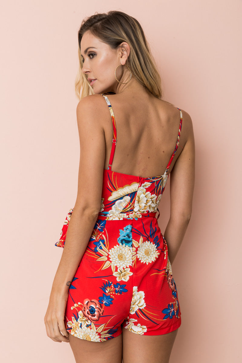 CHERYLYN PLAYSUIT - Red Floral