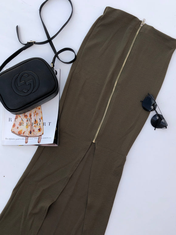 BROKEN INSIDE MIDI SKIRT - Khaki