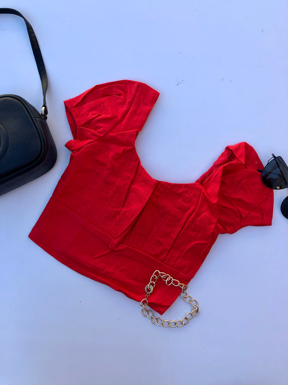 FEVER HEAT CROP TOP - Red