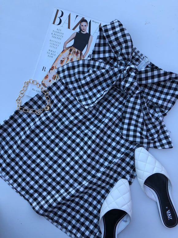 KIA SLEEVELESS DRESS - Black White Checkered