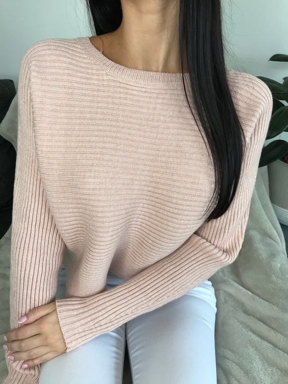 JULIA LONG SLEEVE KNIT TOP - Dusty Pink