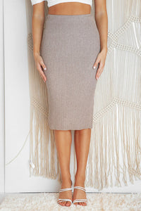 STRONG DETAILS KNIT MIDI SKIRT - Coffee