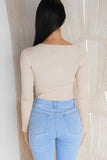 BELIEVE ME LONG SLEEVE CROP TOP - Beige