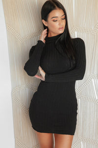 RITUALISTIC LONG SLEEVE KNIT DRESS - Black
