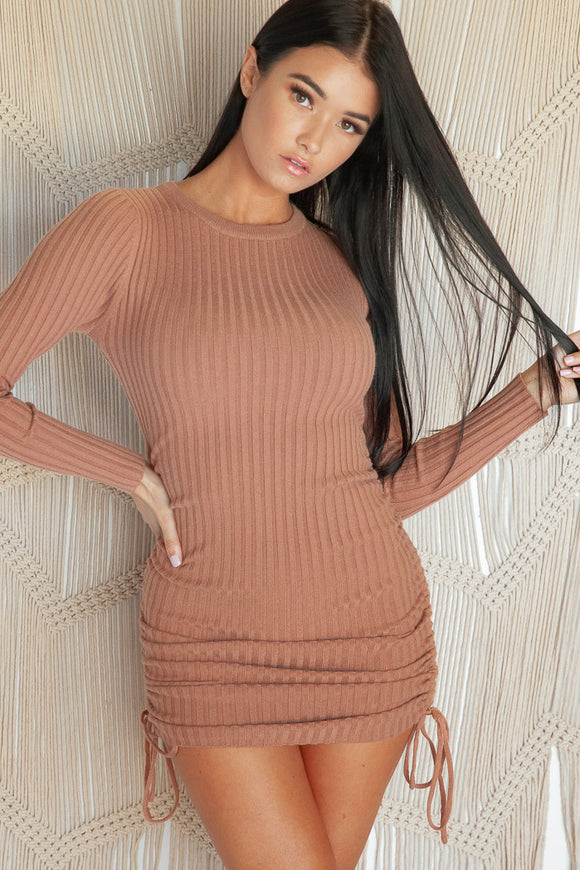 SWEET ROSES LONG SLEEVE KNIT DRESS - Tan