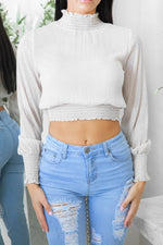 LIMECRIME LONG SLEEVE CROP TOP - Beige Black Polka