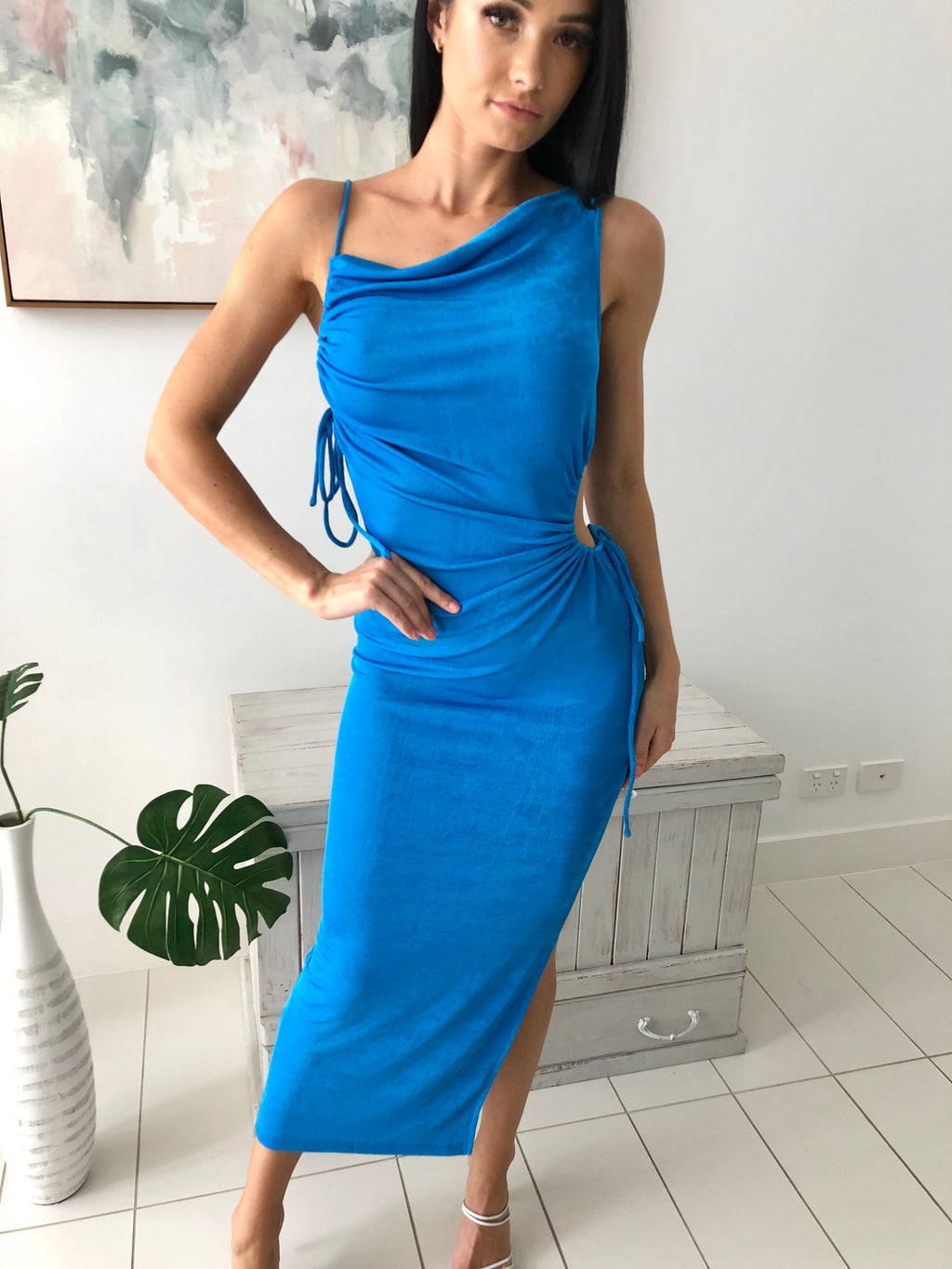 MAISY SIDE SPLIT MAXI DRESS - Blue Metallic