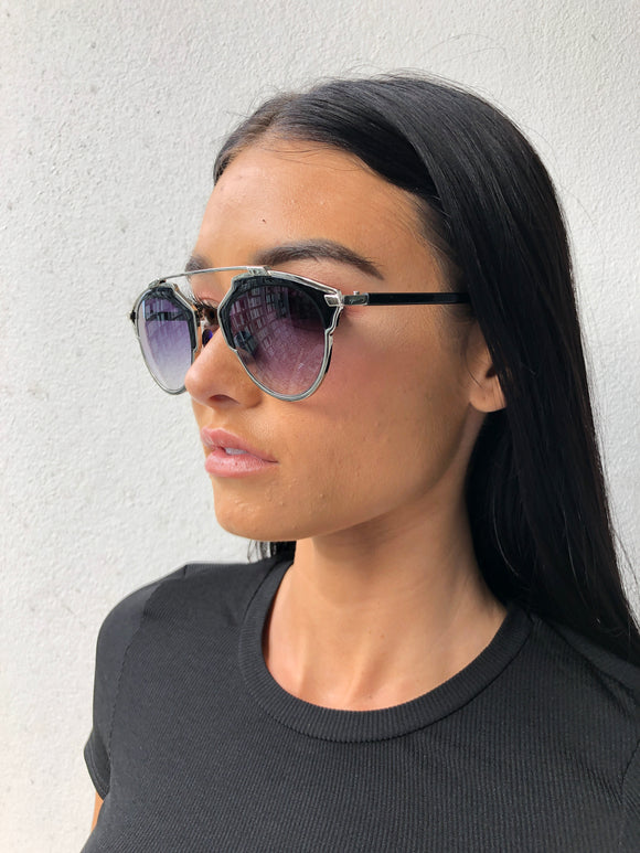 GEO SUNGLASSES - Black/Silver