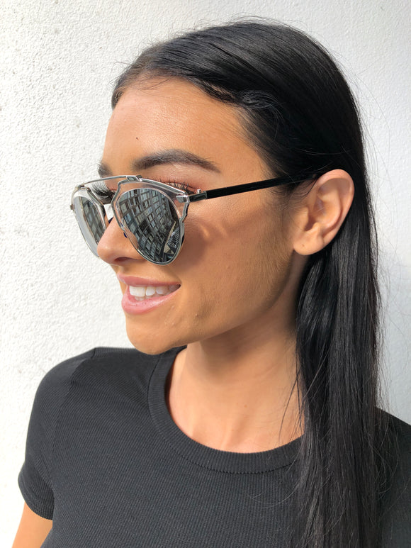 GEO SUNGLASSES - Clear/Silver