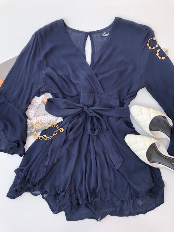 LEAVE IT LONG SLEEVE PLAYSUIT - Navy