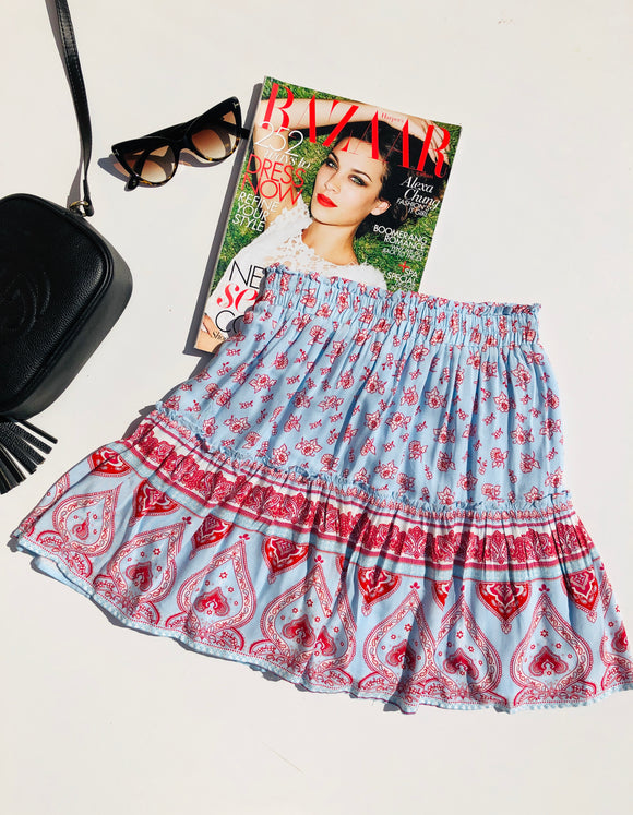 PARADISO MINI SKIRT - Blue Red Print