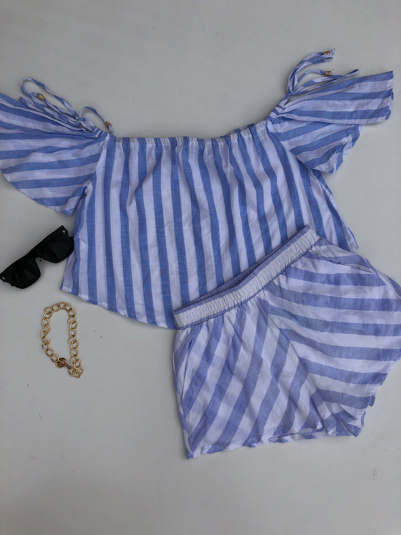 CAMILIA TOP - White Blue Stripes
