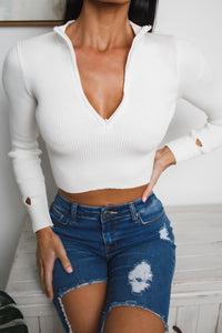 TARYN LONG SLEEVE KNIT TOP - White