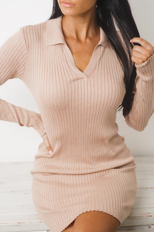 MELANIE LONG SLEEVE RIBBED DRESS - Beige