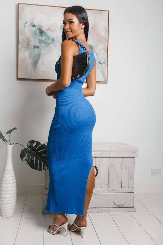 VENTURA SIDE SPLIT KNIT MAXI DRESS - Blue