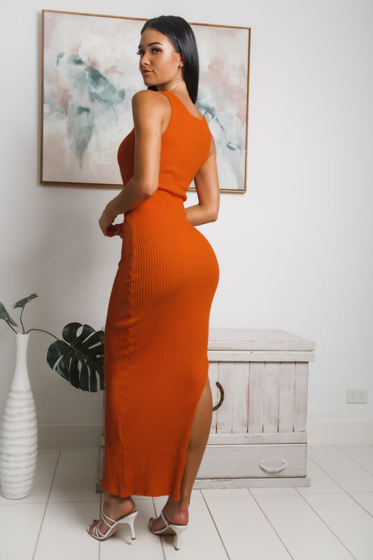 VENTURA SIDE SPLIT KNIT MAXI DRESS -  Orange