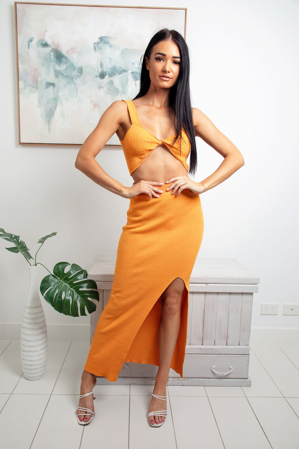 ELOISE FRONT SPLIT KNIT MAXI SKIRT - Orange