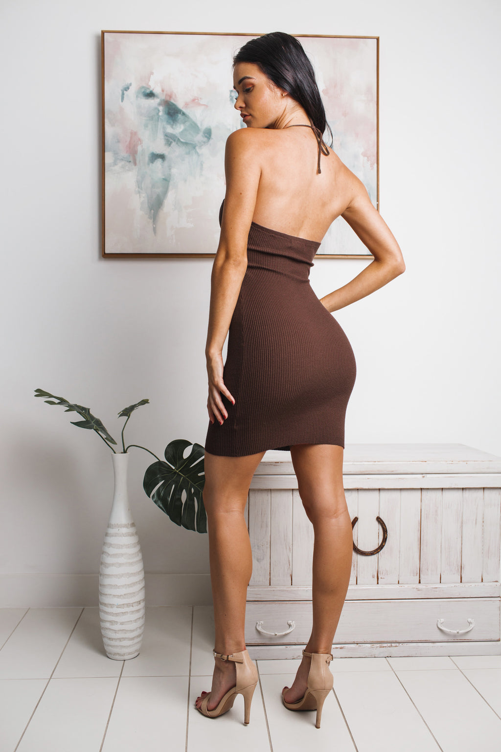 WHITNEY HALTER NECK KNIT MINI DRESS - Chocolate