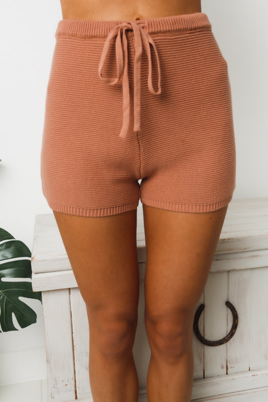 TERRIE KNIT SHORTS - Rust