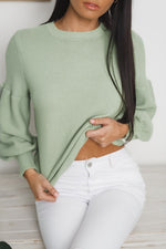 TERRIE LONG SLEEVE KNIT SWEATER - Green