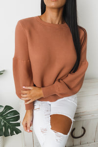 TERRIE LONG SLEEVE KNIT SWEATER - Rust