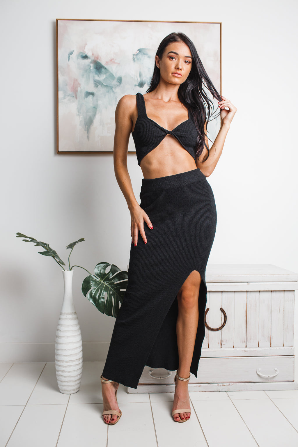 ELOISE FRONT SPLIT KNIT MAXI SKIRT - Black