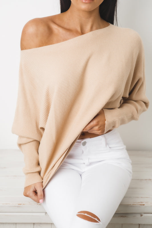 LEESA LONG SLEEVE KNIT TOP - Beige