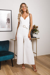 FLOWING RIVER JUMPSUIT - White - Dolly Girl Fashion