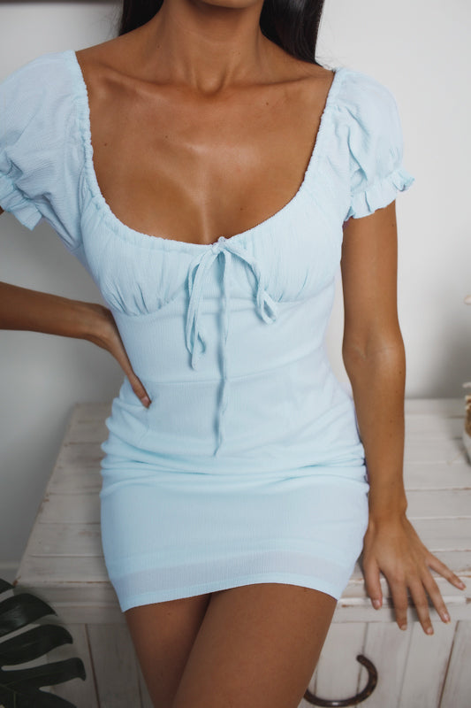 SHEER LIAR OFF SHOULDER DRESS - Light Blue