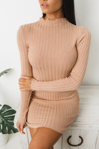RITUALISTIC LONG SLEEVE KNIT DRESS - Nude