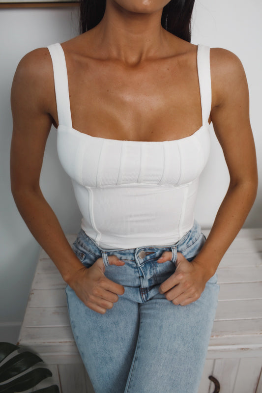 MILA SLEEVELESS BODYSUIT - White