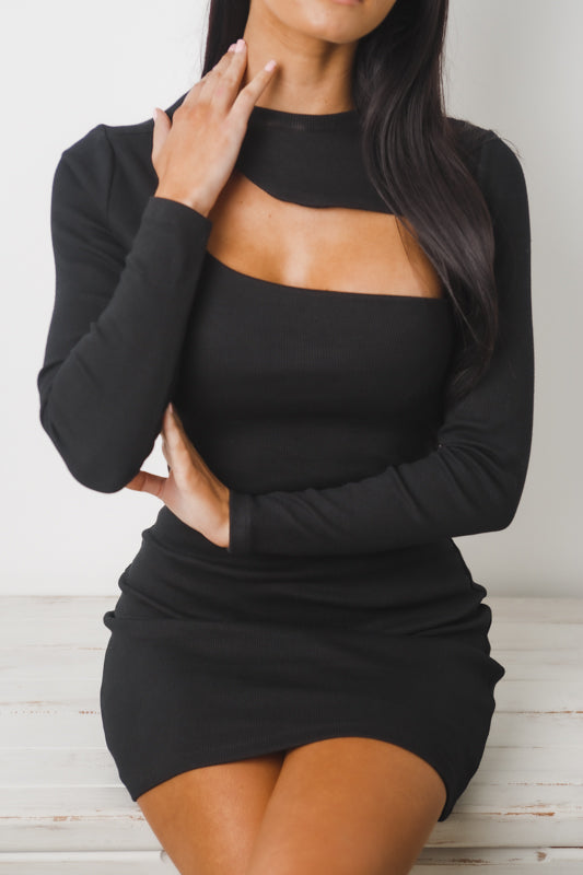 CAITLIN LONG SLEEVE MINI DRESS - Black