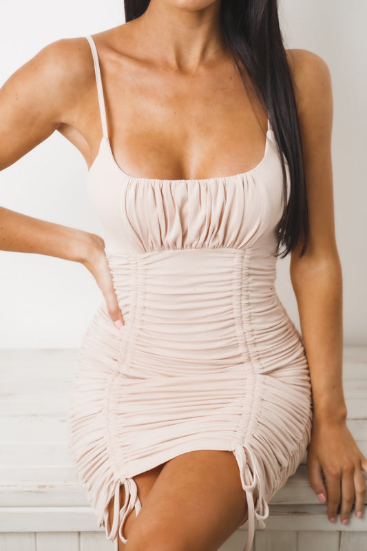 SHELLEY GATHERED MINI DRESS - Nude