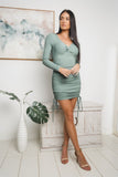 TESSA LONG SLEEVE MINI DRESS - Khaki