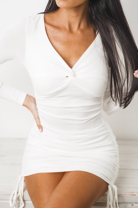 TESSA LONG SLEEVE MINI DRESS - White