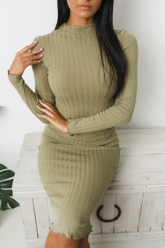 CYNTHIA LONG SLEEVE MIDI DRESS - Khaki
