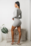 NORA LONG SLEEVE MINI DRESS - Grey