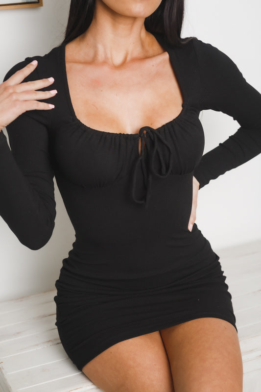 CIERA LONG SLEEVE MINI DRESS - Black