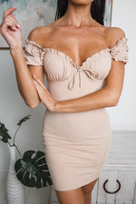 EVELYN OFF SHOULDER MINI DRESS - Beige