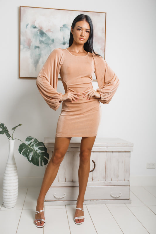 LARA LONG SLEEVE MINI DRESS - Beige Metallic
