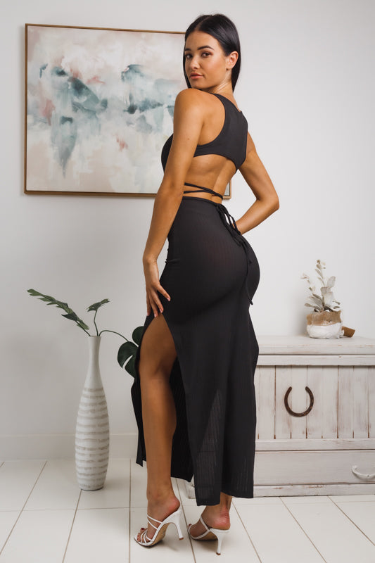 ALINA SLEEVELESS MAXI DRESS - Black