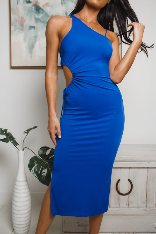 ROSALIE CUT-OUT MIDI DRESS - Cobalt Blue