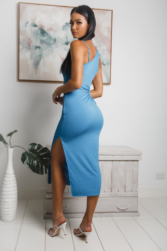 ROSALIE CUT-OUT MIDI DRESS - Sky Blue