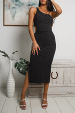 ROSALIE CUT-OUT MIDI DRESS - Black