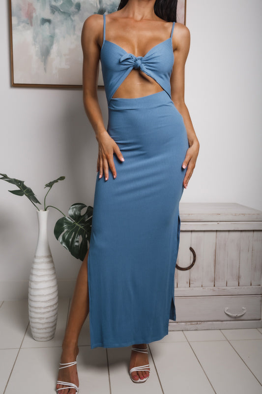 LYCA SIDE SPLIT MAXI DRESS - Blue