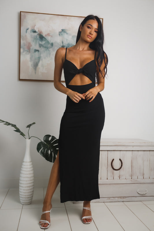 LYCA SIDE SPLIT MAXI DRESS - Black