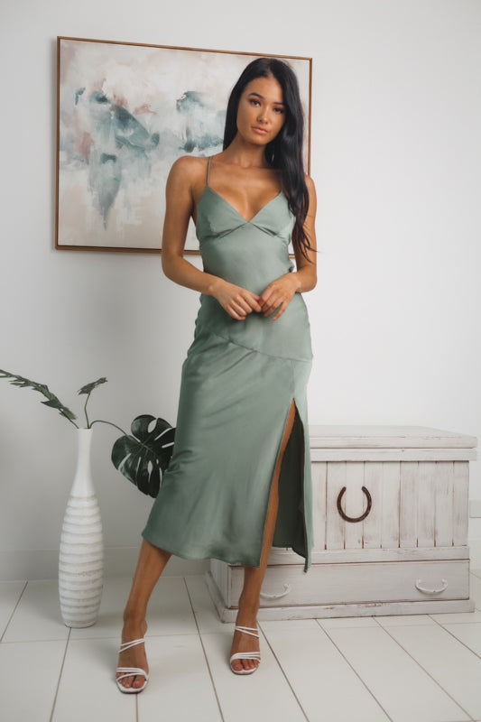 MYLA BACKLESS MIDI DRESS - Dark Sage