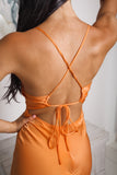 ALIANA BACKLESS MIDI DRESS - Orange