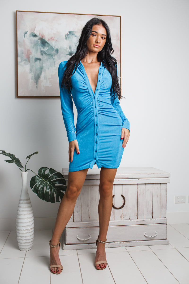 HILDA LONG SLEEVE MINI DRESS - Blue Metallic